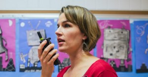 teacher uses two way radio