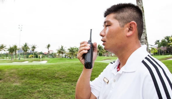 hospitality recreation staff uses two way radio