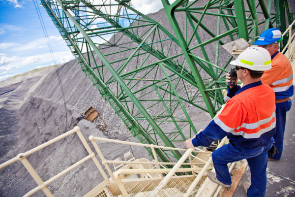 mining workers using two way radio