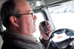 truck driver on radio