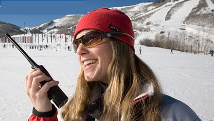 skier woman on two way radio
