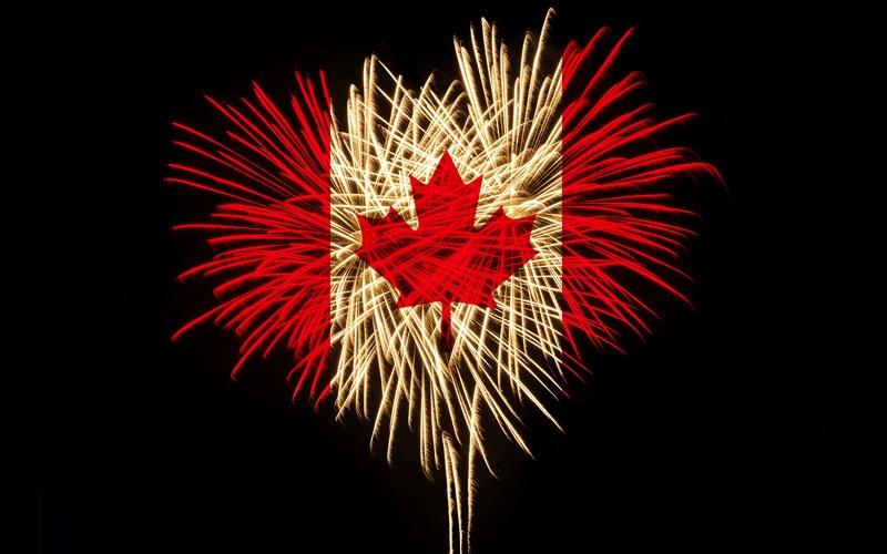 canada day flag fireworks