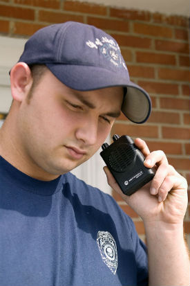 Man listens to two-way radio