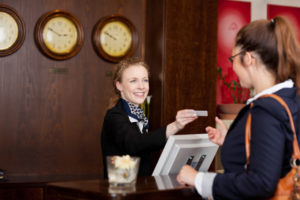 hospitality hotel worker with two way radio