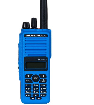 Motorola XPR6580 two-way radio blue