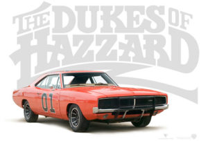 Dukes of Hazard logo & General Lee car
