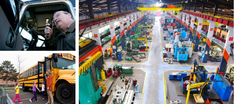 Examples of two-way radio applications, e.g. trucking, education, warehouse