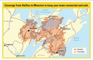 wireless network coverage map of Atlantic Canada