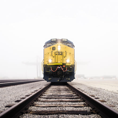 train approaching on tracks